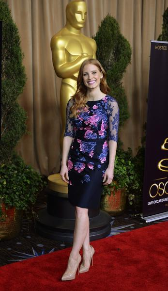 Jessica Chastain arrives for the Academy Awards nominee luncheon at the Beverly Hilton Hotel in Beverly Hills. Chastain is nominated for l
