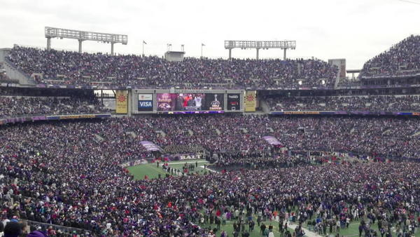Some of the massive crowd that gathered at M&T Bank Stadium for Tuesday's Super Bowl Victory Rally.