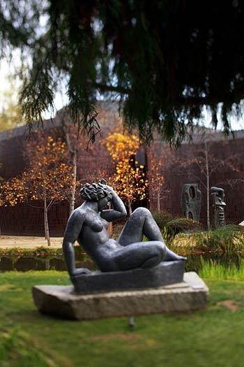 """Mountain,"" a 1937 sculpture by artist Aristide Maillol, sits in the garden of the Norton Simon Museum in Pasadena."