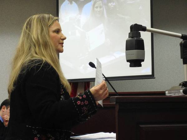 Lisa Kambich, director of The Deerfield Montessori Schools, argues Feb. 4 to the Deerfield Village Board that there is ample choice of day care providers in town and that allowing Bright Horizons Childcare Center to open another local facility to the public would be detrimental to existing operators.