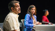 "THEATER REVIEW: ""Disconnect"" at the Victory Gardens Theater ★ ... ""Disconnect,"" the aptly named new play by Anupama Chandrasekhar, is set in a collection agency in Chennai, India."