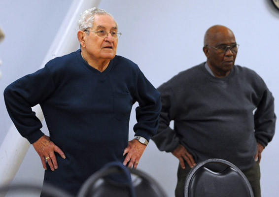 Don Panto, Of Forks Township, participates in the Silver Sneakers 1 Range of Motion fitness class held at the Easton, Phillipsburg & Vicinity YMCA on Tuesday.