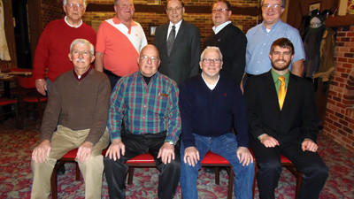 The Roof Garden Barbershop Chorus installed officers for 2013. From left, front row are: Larry Shober, Ed Maxwell, Stu Kreinbrook, Phil Parlock. Second row: Clarence Caldwell, Val Campbell, Jim West, Dave Emert and Norman Menhorn.