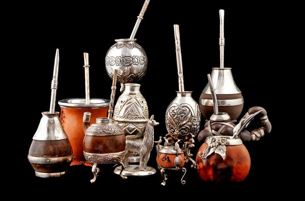 Mate cups with <i> bombillas </i> at Santa Fe's Museum of International Folk Art.