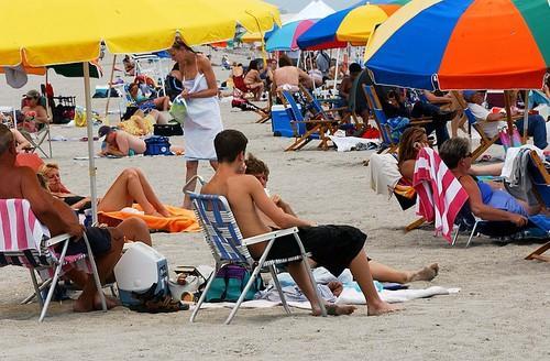 Sunbathers at Cocoa Beach