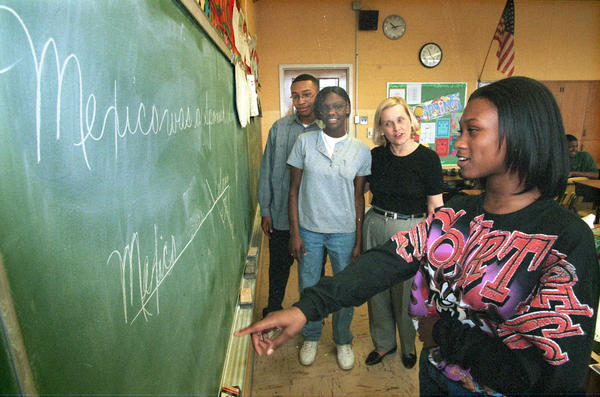 This 1999 file photo shows a Turner-Drew Language Academy student learning how to diagram a sentence. Former teachers David and Elizabeth OBrien (not pictured) say they noticed an alarming decrease in the number of students being taught to diagram sentences -- which spurred their Kickstarter campaign to fund a documentary about grammar.