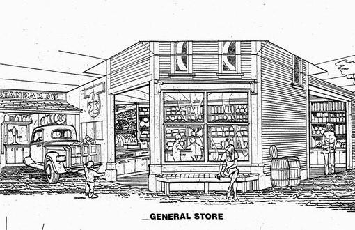 An illustration of the General Store, one of three new storefront environments to be built with the grant money, according to the Raupp Museum's Debbie Fandrei.