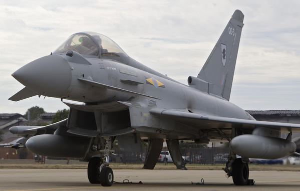 A Typhoon aircraft taxis out prior to a flight exercise at Langley Air Force Base in Hampton on Tuesday. Members of the Royal Air Force XI Squadron are in town for several weeks for Western Zephyr, a joint training exercise.