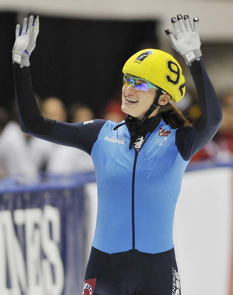 Katherine Reutter reacts after winning the women's 1,500-meter final at the short-track Speed Skating ISU World Cup in Montreal on Nov. 7, 2009.