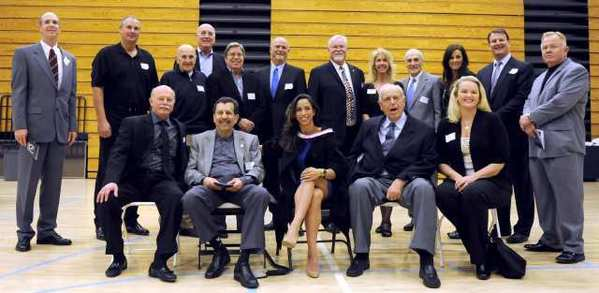 The Crescenta Valley High 2013 Athletic Hall of Fame class gather for a photo during the sixth annual induction ceremony at Crescenta Valley High.