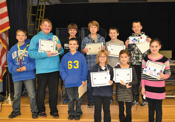 On Jan. 9, Williamsport Elementary School held its annual National Geographic Bee, sponsored by Google. The bee encourages the teaching and learning of geography. Students are quizzed on United States geography, state nicknames, continents, physical geography, and countries around the world. Pictured are the participants: front row, from left, Robert Boward, Payton Sprout, Erica Keplinger and Abigail Welling. Back row, Alex Werder (winner), Laken Michael (second place), Hunter White, Christopher Mackley, Griffin Almany and Jared Harsh.