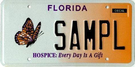 <b>Hospice: Every Day Is A Gift</b>  <br> Effective Jul. 1, 2003.<br> <br> <li> Total plates issued in 2012: 11,806 <li> Organizations receiving proceeds: Florida Hospices and Palliative Care, Inc..
