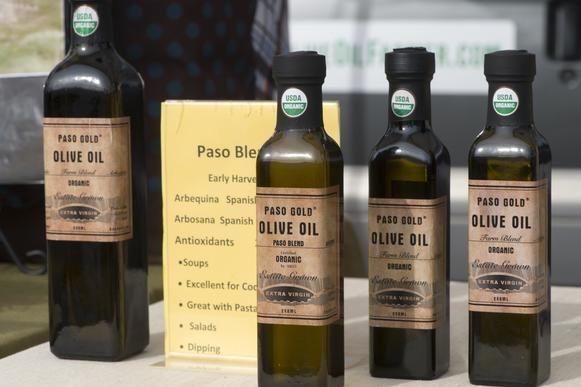 Bottles of olive oil sold by Paso Gold (Michael O'Brien) of Paso Robles.