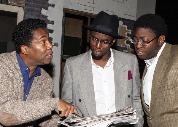 "Dwayne Allen (from left), Rosney Mauger and Michael Sapp rehearse ""King Hedley II"" at Seminole State College."