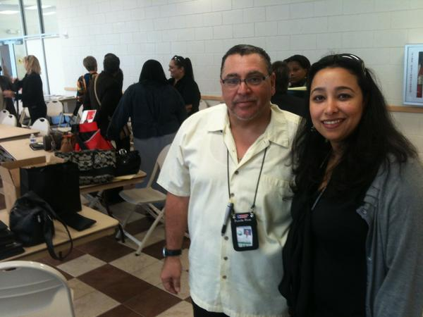 Andy Rodriguez and Cynthia Tapia-Rodriguez, Broward County Public Schools counselors, after the Feb. 5 meeting of the Broward Human Trafficking Coalition.