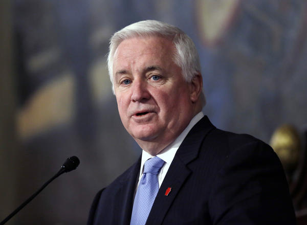 Gov. Tom Corbett addresses a joint session of the Pennsylvania House and Senate on Tuesday in Harrisburg, Pa., during the presentation of the state budget. Corbett said overhauling Pennsylvania's pension systems for state workers and school employees is the single most important thing lawmakers can do.