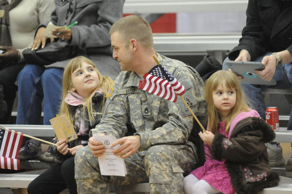 Sgt. First Class Joe Daigle of South Windsor brought his daughters, Milla, 8, left, and Bella, 4, right