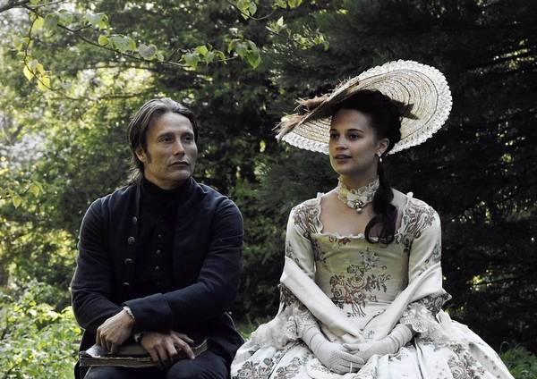 "Mads Mikkelsen and Alicia Vikander in the ""A Royal Affair."""