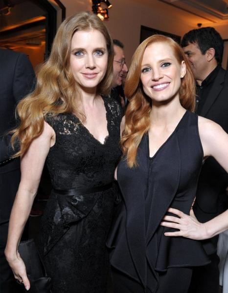 Amy Adams, left, and Jessica Chastain attend the Hollywood Reporter Nominees' Night at Spago on Monday in Beverly Hills.