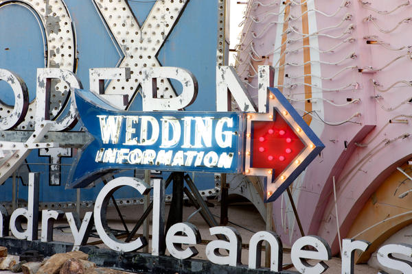 On Valentine's Day, the Neon Museum in downtown Las Vegas will offer couples the chance to get married -- or renew their vows -- amid the hulking signs.