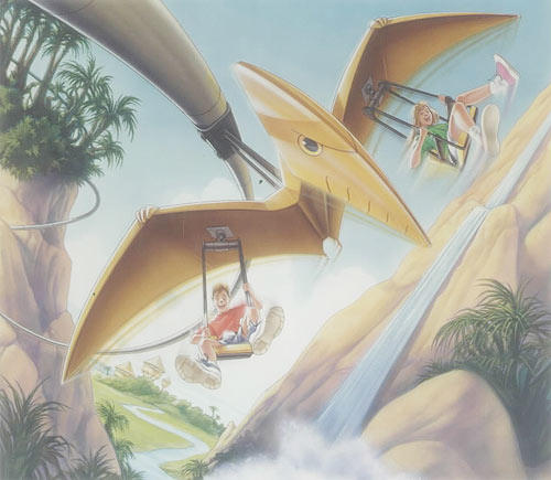 "The Pteranodon Flyers ride at Universal's <a class=""taxInlineTagLink"" id=""PLENT000186"" title=""Islands of Adventure"" href=""/topic/travel/tourism-leisure/theme-park-vacations/islands-of-adventure-PLENT000186.topic"">Islands of Adventure</a> has a 36-inch height restriction. Children who are 36 to 48 inches tall must be accompanied by an adult. Also note, this attraction is designed for children 36 to 56 inches tall. Guests over 56 inches tall must be accompanied by a child meeting the 36 inch height requirement."