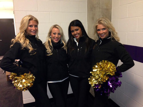 Ravens cheerleaders from Harford County, from left, Angel P., Jamie A., Serena B. and Joanna P. get ready to head for the field for Sunday's Super Bowl.