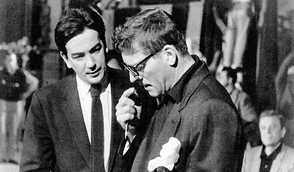 "Alexander Mackendrick, left, and Burt Lancaster on the set of ""Sweet Smell of Success."""