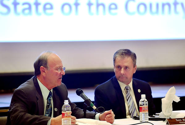Washington County Commissioner William B. McKinley, left, and Commissioners President Terry Baker answer questions during the public presentation of the State of the County Tuesday at at Hager Hall Conference & Events Center on Dual Highway.