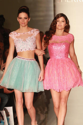 Kendall and Kylie Jenner walk the runway at the Evening Sherri Hill spring 2013 fashion show during Mercedes-Benz Fashion Week at Trump Tower Grand Corridor