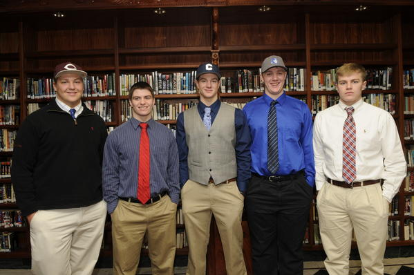 Xavier football players signed letters of intent to play at college Wednesday morning at Xavier High School in Middletown.  Max Schumann will play for the University of Chicago; Kris Luster for Wesleyan University; Tim Boyle for the University of Connecticut; Jonah Dorsey for Central Connecticut State University; and Max Tylki for Brown University.