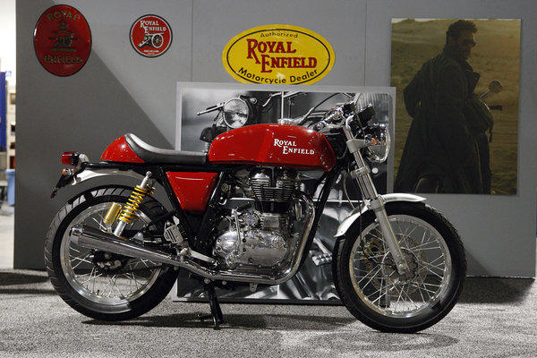 A new Royal Enfield, exhibited at the Progressive International Motorcycle Show in Long Beach.
