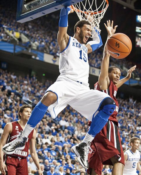Kentucky forward Willie Cauley-Stein (15) slams home two of his 13 points in Tuesdays 77-55 win over South Carolina.