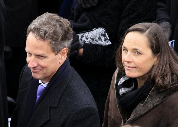 Timothy F. Geithner and his wife, Carole Sonnenfeld Geithner, at President Obama's inauguration last month, days before Geithner stepped down as Treasury secretary.