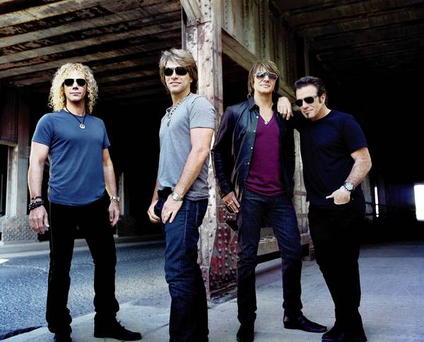 Bon Jovi kicks off its new tour Saturday at Mohegan Sun. From left, David Bryan, Jon Bon Jovi, Richie Sambora and Tico Torres.