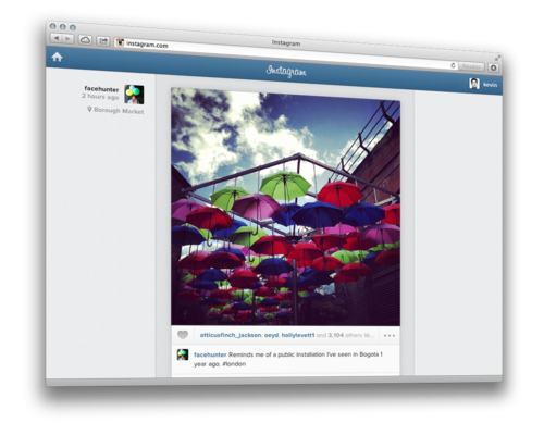 Instagram has added a feed feature to its online website.