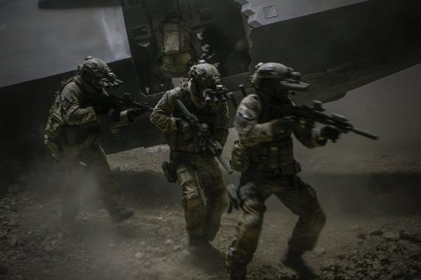 Navy Seals rush the Osama bin Laden compound in a scene from 'Zero Dark Thirty.'