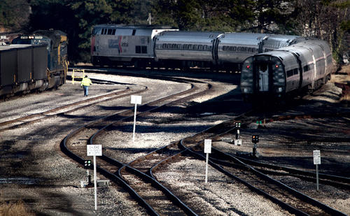 An Amtrak train makes its way back to the station after a turn-around on the tracks near Mercury Blvd. in Newport News. Newport News train tracks are planned for upgrades in 2016 near Bland Blvd.if funding is approved in Richmond.