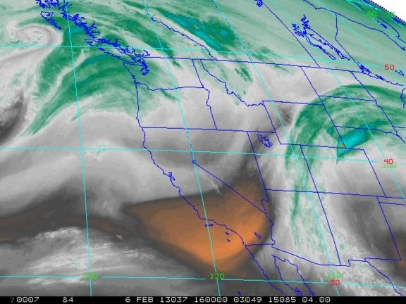 A satellite image shows water vapor above the Western U.S. on Feb. 6, 2013.