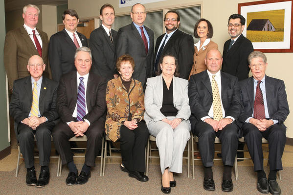 Members of the West Virginia University Hospitals-East board of directors are, seated from left, Fred Butcher; Robert F. Baronner Jr., chairman; Suzanne Shipley, vice chairman; Betty Gunnoe, secretary; D. Scott Roach, treasurer; and Richard Knapp. Standing, Keith B. Berkeley; Dr. Konrad C. Nau; Terry Hess; David DeJarnett; Nicholas Trietsch; Jackee Long; and Dr. David A. Baltierra. Not pictured are board members Rhonda Monroe and Dr. John A. Draper Jr.