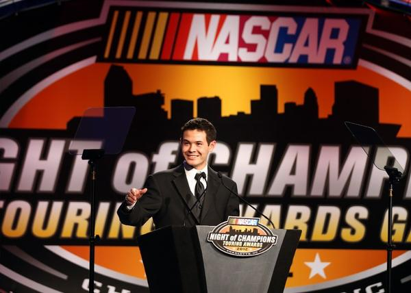 Kyle Larson speaks during the NASCAR Night of Champions Touring Series Awards on Dec. 8.