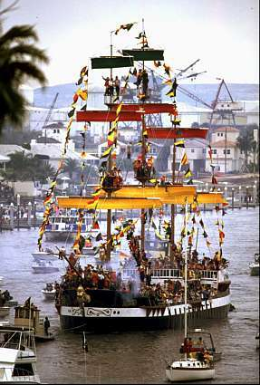 Members of Ye Mystic Krewe of Gasparilla on their pirate ship, the Jose Gaspar, perform a mock invasion of the city of Tampa, Fla., Saturday, Feb. 3, 1996 during the 82nd annual Gasparilla pirate invasion.