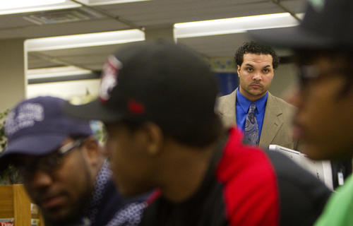 Phoebus High School head football coach Jeremy Blunt looks on prior to a National Signing Day ceremony on Wednesday.
