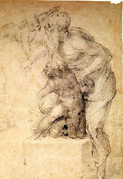 """Sacrificio di Isacco"" is one of 26 drawings on view at the Muscarelle Museum of Art in ""Michelangelo: Sacred and Profane Masterpiece Drawings from the Casa Buonarroti."""