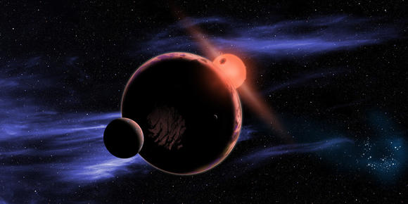 depiction of a planet orbiting a red dwarf