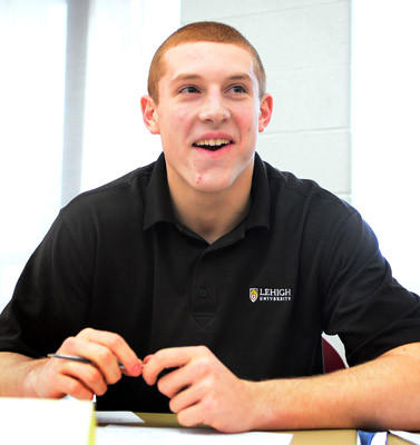 Nick Shafnisky smiles during letter of intent ceremony before signing to attend Lehigh University. Whitehall High School had nine students sign letters of intent Wednesday.
