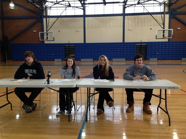 Avon High athletes signed commitments on Wednesday in a variety of sports, from left, Hal Chapman Wingo (Georgetown, football), Kaylan Conard (Bryant, girls soccer), Catherine Jordan (Duquesne, soccer) and Colin Moore (Furman, lacrosse).