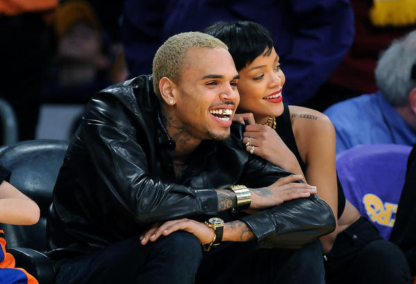 Chris Brown and Rihanna together at a Lakers game in December.
