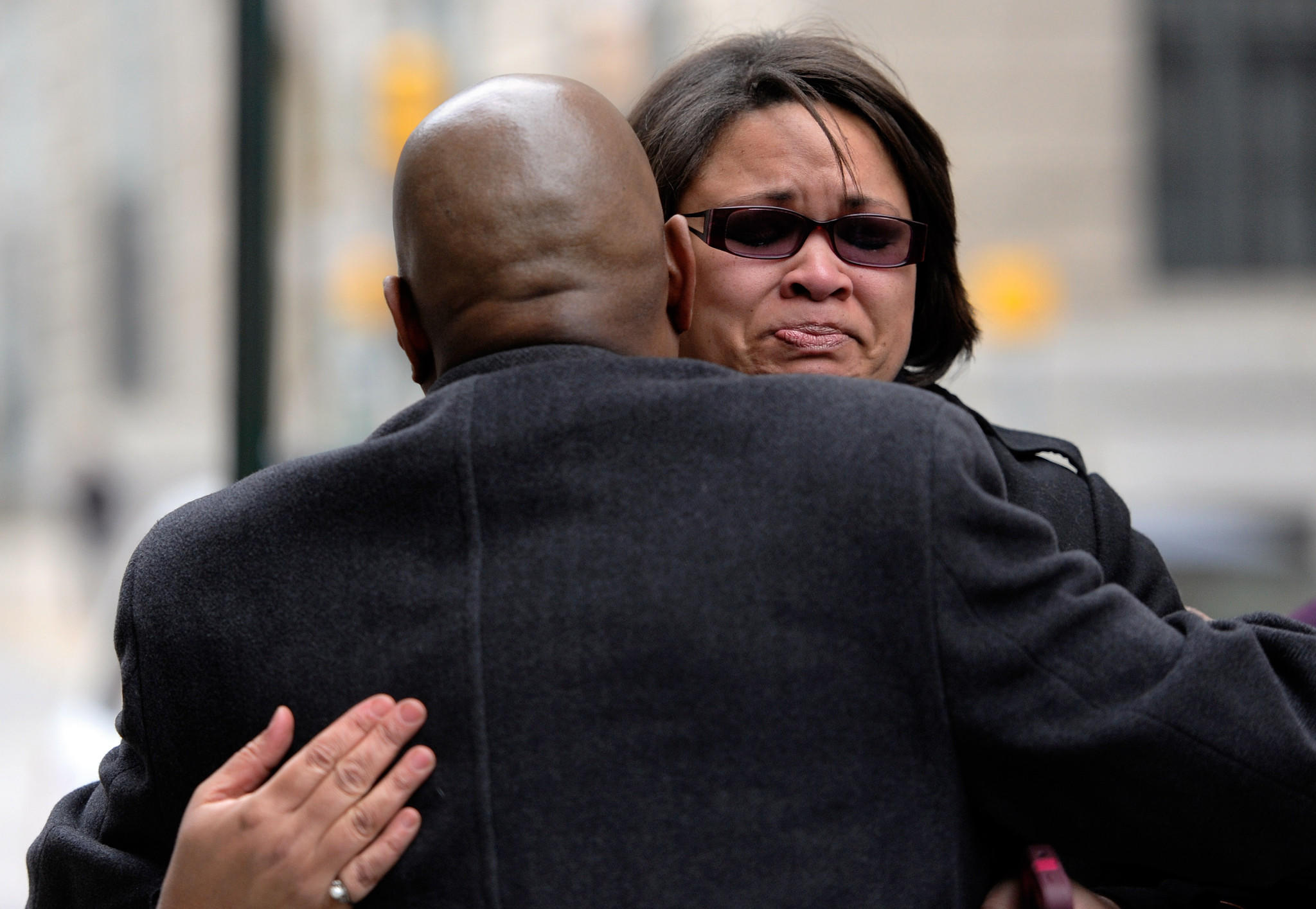 Bonnie Briscoe of Owings Mills, Md., shows her emotions outside court in March after a Baltimore jury found Michael Maurice Johnson guilty of second-degree murder in the killing of Briscoe's neice, Phylicia Barnes.