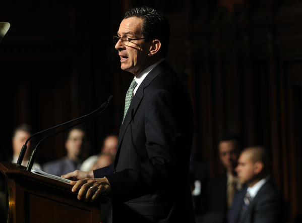 Gov. Dannel P. Malloy delivers his budget address Wednesday afternoon at a joint session in the hall of the House.