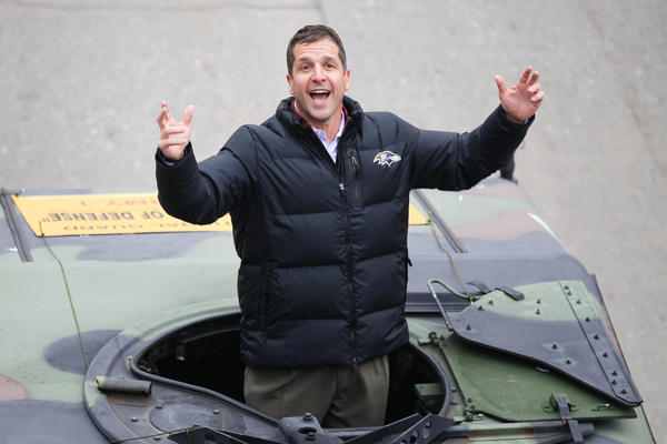 "Ravens coach John Harbaugh will be on the ""Late Show with David Letterman"" Thursday, three nights after Joe Flacco appeared on the CBS show."